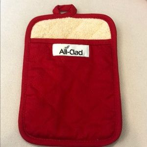 ALL-CLAD RED OVEN MITT TERRY LINING NEW